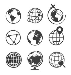 Globe and earth geography graphic icon set vector