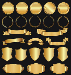 Golden retro sale badges and labels collection 3 vector