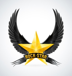 Golden star with Rock Star banner and wings vector image vector image