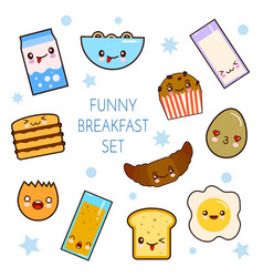 good morning funny characters breakfast vector image