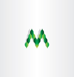 green leaves letter m logotype symbol vector image