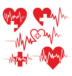 Heart logo with pulse vector