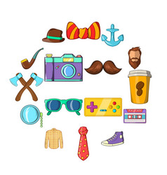 hipster icons set cartoon style vector image