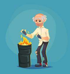 homeless bum poor old man adult warming themselves vector image