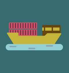 Icon in flat design ship with containers vector