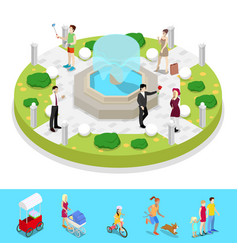 isometric city park composition with fountain vector image