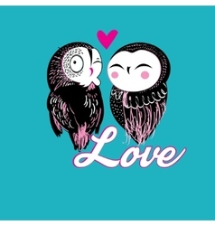 Lovers funny owl vector
