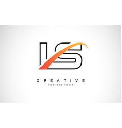 ls l s swoosh letter logo design with modern vector image