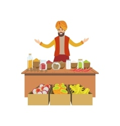 Man selling spices on indian market vector