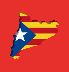 Map independent catalonia nationalist flag vector