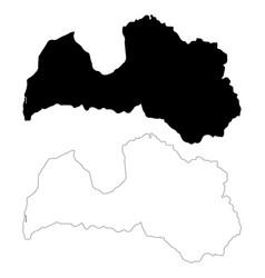 Map latvia isolated black on vector