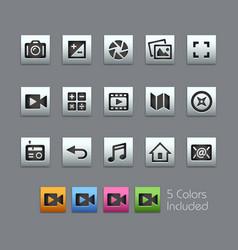 Media interface icons - satinbox series vector