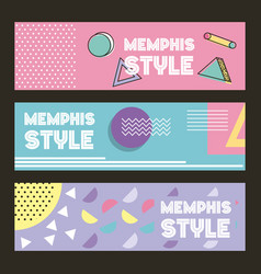 Memphis style pattern banner horizontal geometric vector