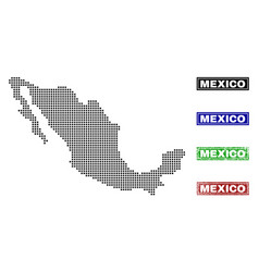 Mexico map in dot style with grunge title stamps vector