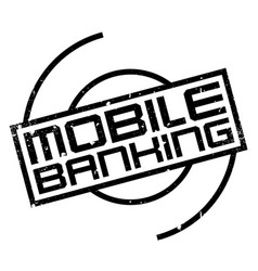 Mobile banking rubber stamp vector