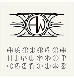 Monogram an art nouveau label with two letters vector