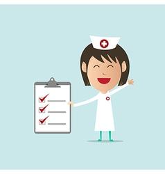 Nurse show checklist note vector image