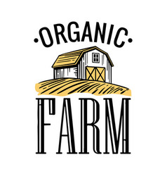 organic farm black white yellow color vintage vector image
