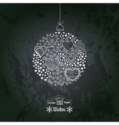 ornate christmas ball made of hearts Romantic vector image