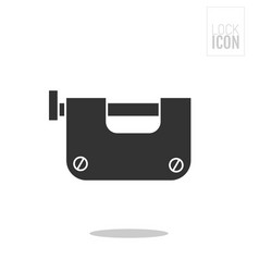 Padlock flat black icon of lock isolated on white vector