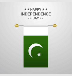Pakistan independence day hanging flag background vector