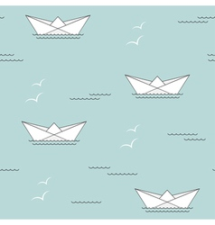 Paper ship seamless bcakgrounds vector image