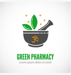Pharmacy and alternative medicine logo vector