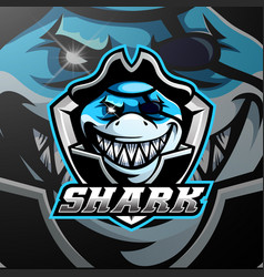 pirates shark mascot logo design vector image
