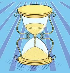 pop art background imitation of comics hourglass vector image