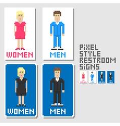 restroom signs pixel art style vector image