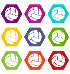 retro volleyball icons set 9 vector image