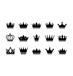 royal crown icons collection set vector image
