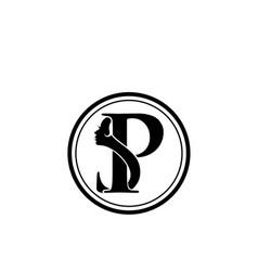 Salon beauty letter p s logo design silhouette vector