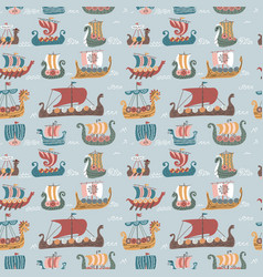 seamless pattern with many viking drakkars trendy vector image