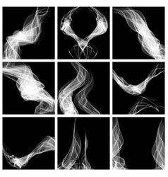 set abstract smoke isolated on black background vector image