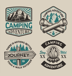 set black and white logos for camping theme vector image