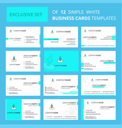 set of 12 avatar creative busienss card template vector image