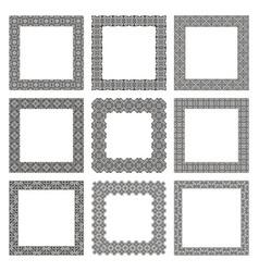 set square frames with floral greek ornament vector image