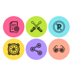 share screwdriverl and no parking icons set vector image