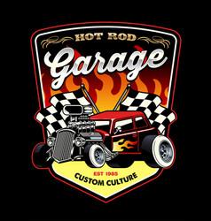 shirt design hot rod car garage vector image