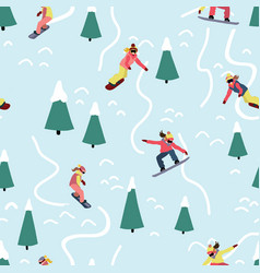 snowboarding women seamless pattern winter vector image