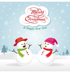 Snowman and Snowgirl Christmas vector