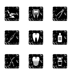 Stomatology icons set grunge style vector
