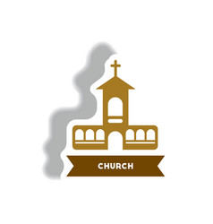 Stylish icon in paper sticker style building vector