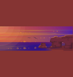 sunset at sea landscape vector image