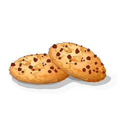 Sweet choco chip cookies with chocolate dots vector