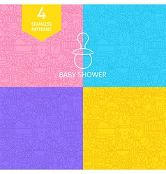 thin line art bashower pattern set vector image
