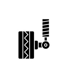 tire fitting black icon sign on isolated vector image