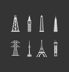 tower icon set grey vector image