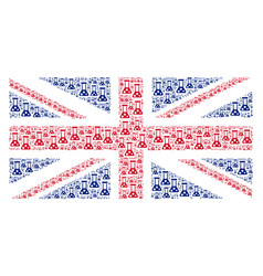 uk flag pattern of chemistry icons vector image